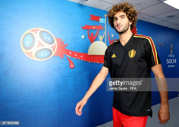 Marouane Fellaini of Belgium makes his way on the pitch for the warm up during the 2018 FIFA World Cup Russia group G match between Belgium and...