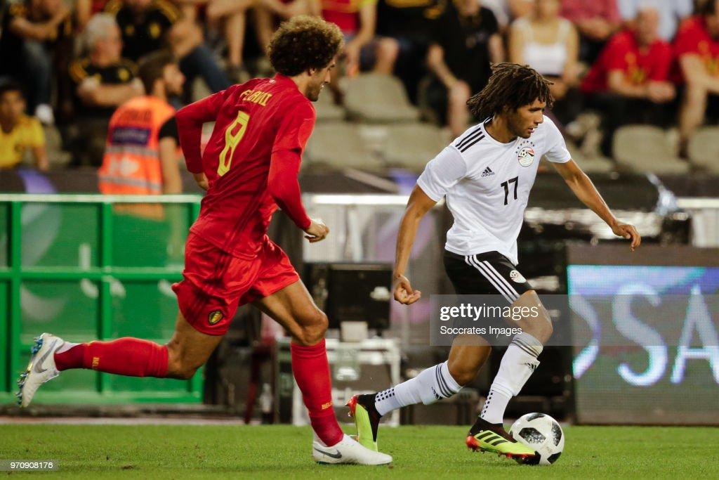 Marouane Fellaini of Belgium, Mohamed Elneny of Egypt during the International Friendly match between Belgium v Egypt at the Koning Boudewijnstadion on June 6, 2018 in Brussel Belgium