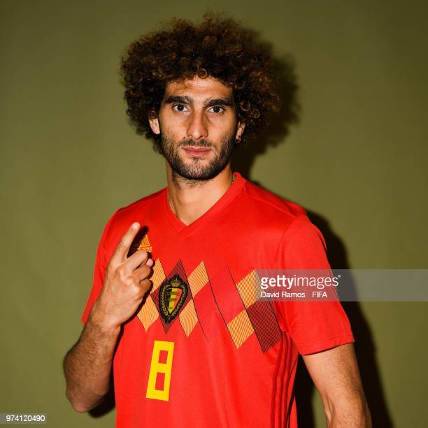 Marouane Fellaini of Belgium poses during the official FIFA World Cup 2018 portrait session at the Moscow Country Club on June 14 2018 in Moscow...