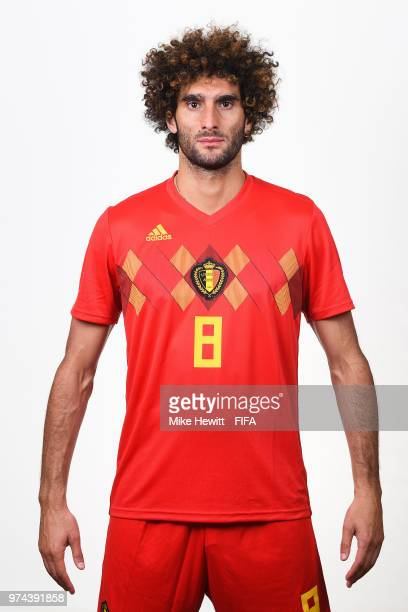 Marouane Fellaini of Belgium poses for a portrait during the official FIFA World Cup 2018 portrait session at the Moscow Country Club on June 14 2018...