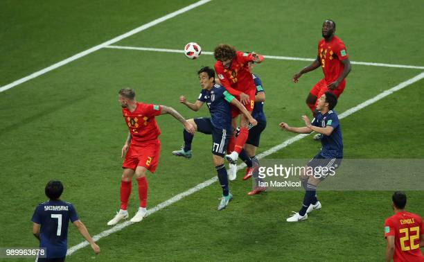 Marouane Fellaini of Belgium scores his sides second goal during the 2018 FIFA World Cup Russia Round of 16 match between Belgium and Japan at Rostov...