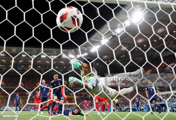 Marouane Fellaini of Belgium scores his team's second goal past Eiji Kawashima of Japan during the 2018 FIFA World Cup Russia Round of 16 match...