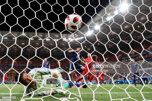 Marouane Fellaini of Belgium turns to celebrate after scoring his team's second goal past Eiji Kawashima of Japan during the 2018 FIFA World Cup...