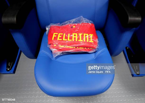 Marouane Fellaini of Belgium's shirt is seen in the Belgium dressing room prior to the 2018 FIFA World Cup Russia group G match between Belgium and...
