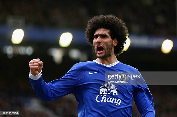 Marouane Fellaini of Everton celebrates his goal during the Barclays Premier League match between Everton and Reading at Goodison Park on March 2...