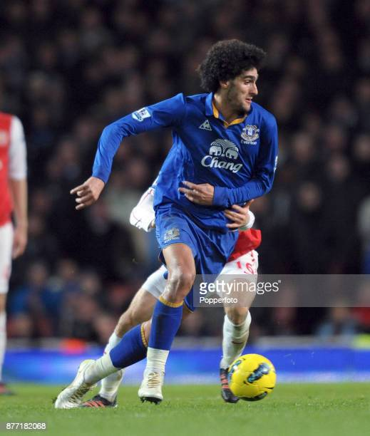 Marouane Fellaini of Everton in action during a Barclays Premier League match between Arsenal and Everton at the Emirates Stadium on December 10 2011...