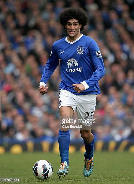 Marouane Fellaini of Everton in action during the Barclays Premier League match between Everton and Fulham at Goodison Park on April 27 2013 in...