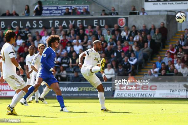 Marouane Fellaini of Everton scores his sides third goal during the Barclays Premier League match between Swansea City and Everton at the Liberty...