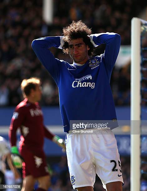 Marouane Fellaini of Everton shows his frustration after a near miss during the Barclays Premier League match between Everton and Fulham at Goodison...