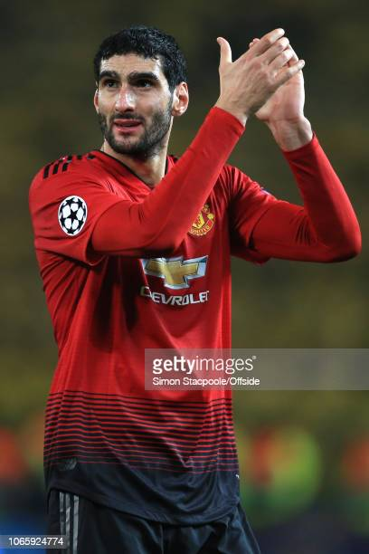 Marouane Fellaini of Man Utd applauds the crowd during the Group H match of the UEFA Champions League between Manchester United and BSC Young Boys at...