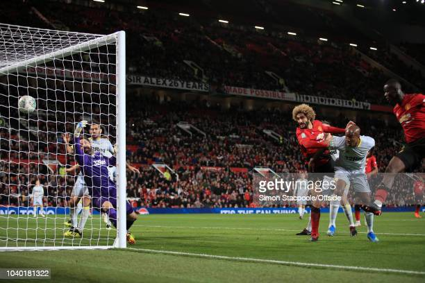 Marouane Fellaini of Man Utd scores their 2nd goal during the Carabao Cup Third Round match between Manchester United and Derby County at Old...