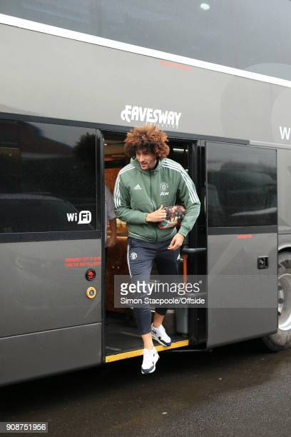 Marouane Fellaini of Man Utd steps off the team bus after arriving for the Premier League match between Burnley and Manchester United at Turf Moor on...
