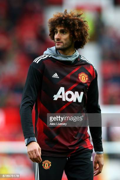 Marouane Fellaini of Manchester United ahead of the Premier League match between Manchester United and Brighton and Hove Albion at Old Trafford on...