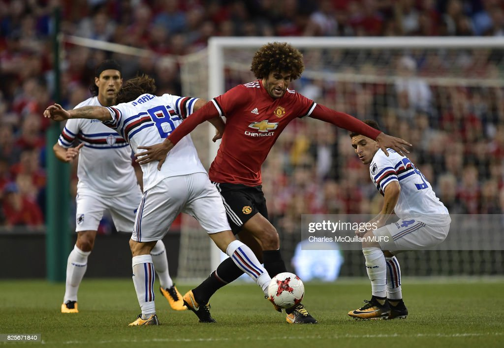 Marouane Fellaini of Manchester United and Edgar Barreto of Sampdoria during the Aon Tour pre season friendly game between Manchester United and Sampdoria at Aviva Stadium on August 2, 2017 in Dublin, Ireland.