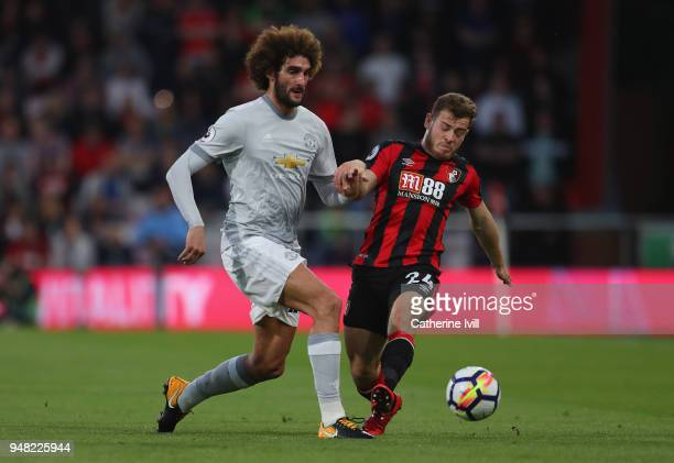 Marouane Fellaini of Manchester United and Ryan Fraser of AFC Bournemouth battle for possession during the Premier League match between AFC...