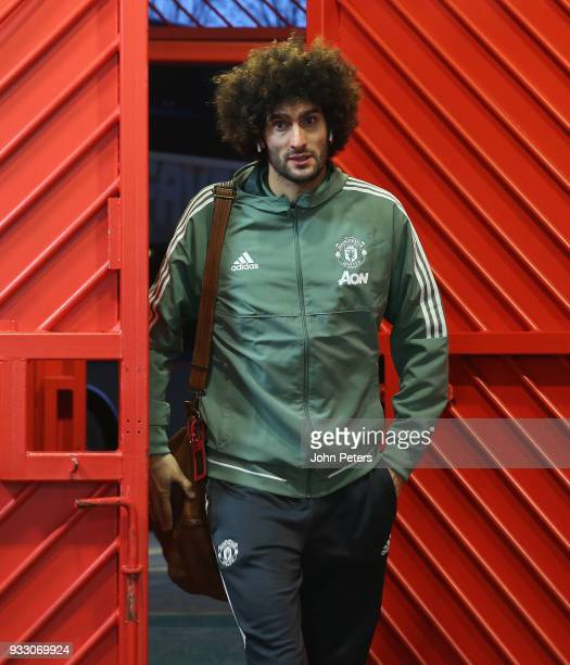 Marouane Fellaini of Manchester United arrives ahead of the Emirates FA Cup Quarter Final match between Manchester United and Brighton Hove Albion at...