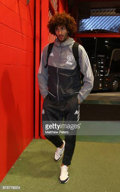 Marouane Fellaini of Manchester United arrives ahead of the Premier League match between Manchester United and Newcastle United at Old Trafford on...