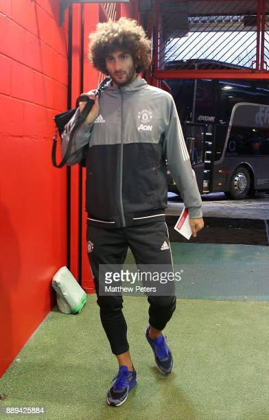 Marouane Fellaini of Manchester United arrives ahead of the Premier League match between Manchester United and Manchester City at Old Trafford on...