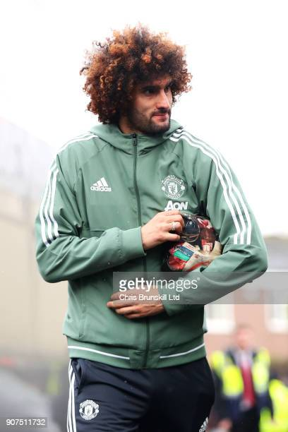 Marouane Fellaini of Manchester United arrives ahead of the Premier League match between Burnley and Manchester United at Turf Moor on January 20...