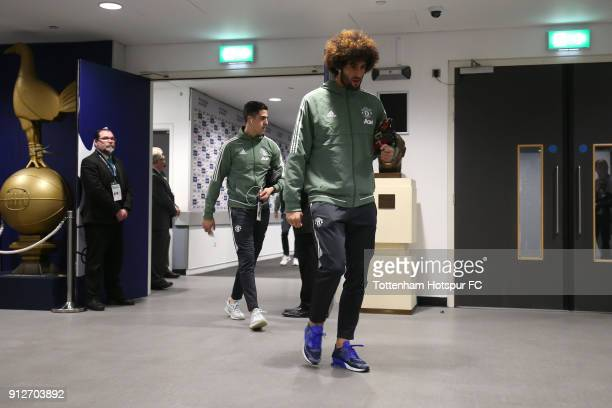 Marouane Fellaini of Manchester United arrives at the stadium prior to the Premier League match between Tottenham Hotspur and Manchester United at...