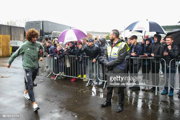 Marouane Fellaini of Manchester United arrives prior to the Premier League match between Burnley and Manchester United at Turf Moor on January 20...