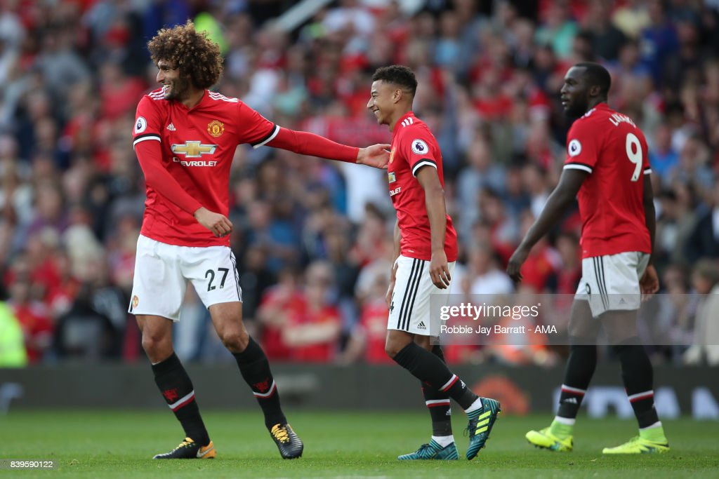 Marouane Fellaini of Manchester United celebrates after scoring a goal to make it 2-0 during the Premier League match between Manchester United and Leicester City at Old Trafford on August 26, 2017 in Manchester, England.