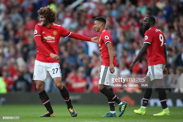 Marouane Fellaini of Manchester United celebrates after scoring a goal to make it 20 during the Premier League match between Manchester United and...