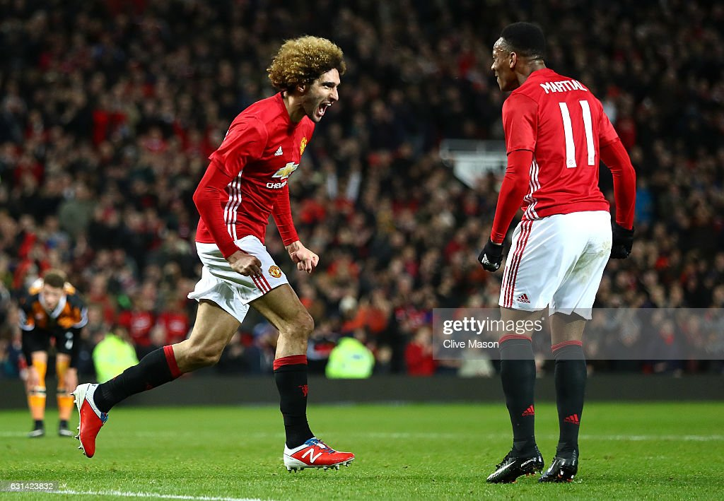 Marouane Fellaini of Manchester United celebrates after scoring his sides second goal his sides second goal during the EFL Cup Semi-Final First Leg match between Manchester United and Hull City at Old Trafford on January 10, 2017 in Manchester, England.