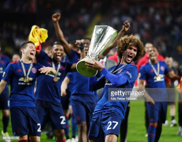 Marouane Fellaini of Manchester United celebrates after the victory during the UEFA Europa League Final between Ajax and Manchester United at Friends...