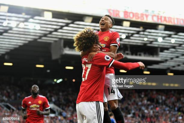 Marouane Fellaini of Manchester United celebrates scoring his sides second goal with Jesse Lingard of Manchester United during the Premier League...