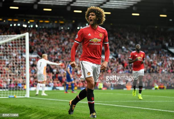 Marouane Fellaini of Manchester United celebrates scoring his sides second goal during the Premier League match between Manchester United and...