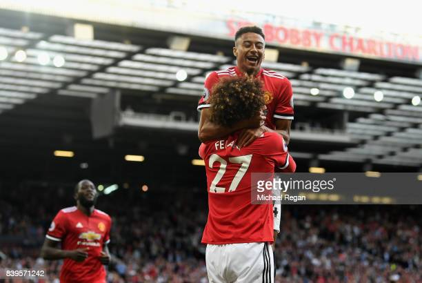 Marouane Fellaini of Manchester United celebrates scoring his sides second goal with Jesse Lingard of Manchester United during the Premier League...
