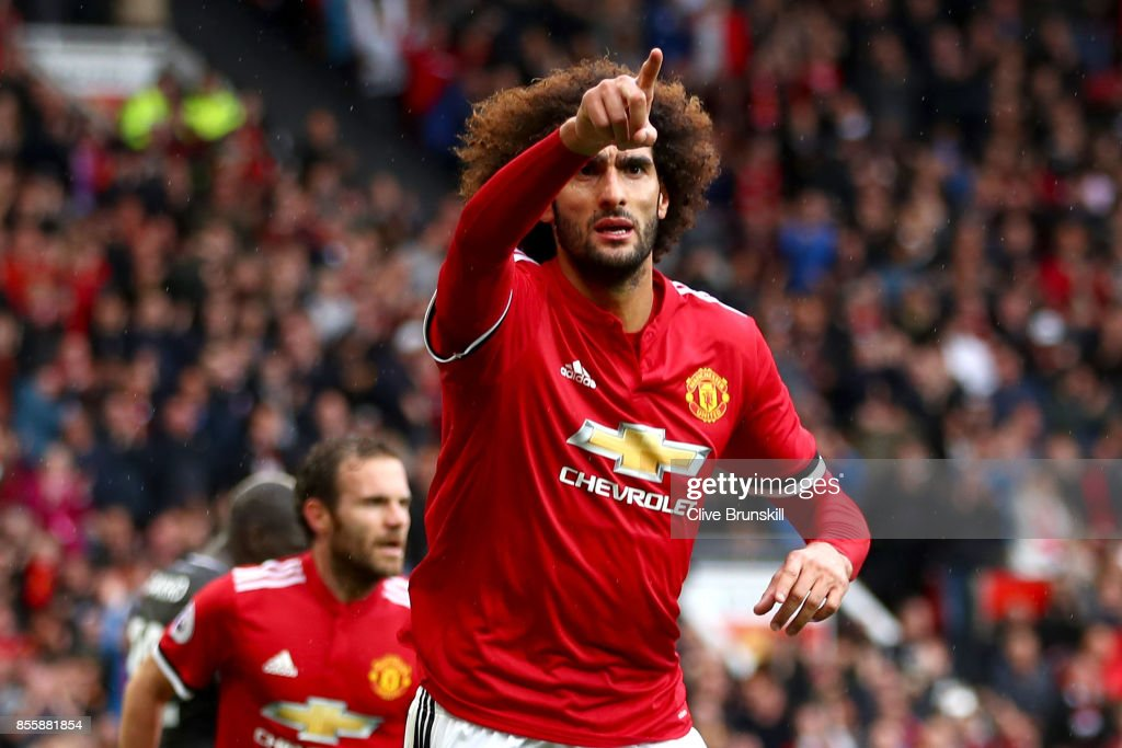 Marouane Fellaini of Manchester United celebrates scoring his side's second goal during the Premier League match between Manchester United and Crystal Palace at Old Trafford on September 30, 2017 in Manchester, England.