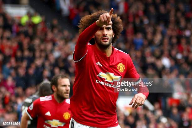 Marouane Fellaini of Manchester United celebrates scoring his side's second goal during the Premier League match between Manchester United and...
