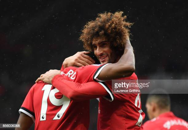 Marouane Fellaini of Manchester United celebrates scoring the third goal during the Premier League match between Manchester United and Crystal Palace...