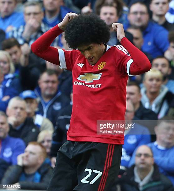 Marouane Fellaini of Manchester United celebrates scoring their first goal during the Emirates FA Cup Semi Final match between Manchester United and...
