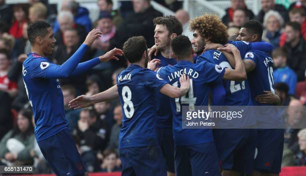 Marouane Fellaini of Manchester United celebrates scoring their first goal during the Premier League match between Middlesbrough and Manchester...