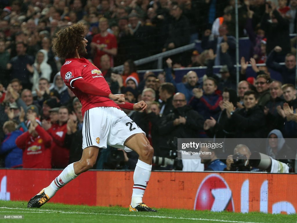 Marouane Fellaini of Manchester United celebrates scoring their first goal during the UEFA Champions League group A match between Manchester United and FC Basel at Old Trafford on September 12, 2017 in Manchester, United Kingdom.
