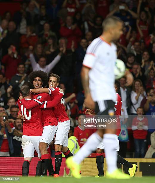 Marouane Fellaini of Manchester United celebrates scoring their second goal during the Pre Season Friendly match between Manchester United and...