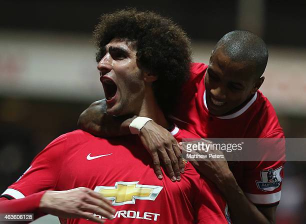 Marouane Fellaini of Manchester United celebrates scoring their second goal during the FA Cup Fifth Round match between Preston North End and...