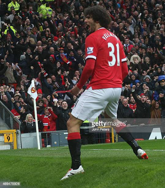 Marouane Fellaini of Manchester United celebrates scoring their second goal during the Barclays Premier League match between Manchester United and...