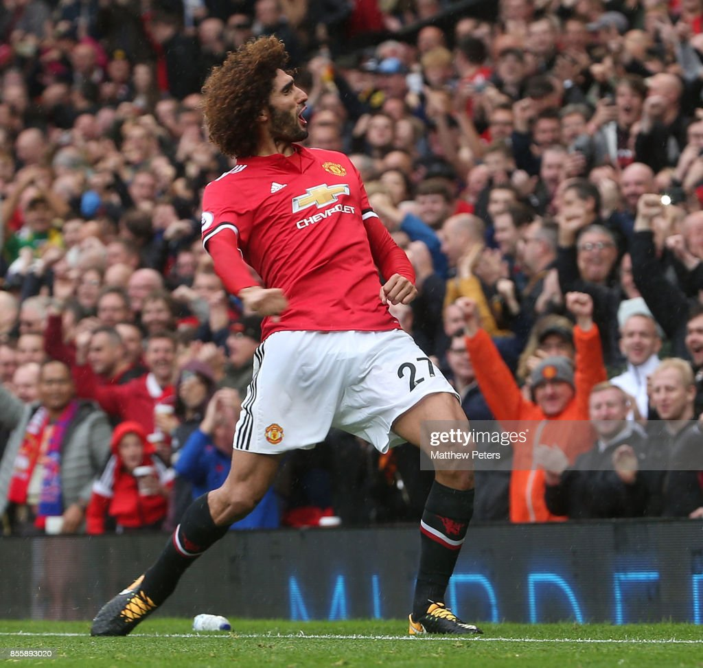 Marouane Fellaini of Manchester United celebrates scoring their third goal during the Premier League match between Manchester United and Crystal Palace at Old Trafford on September 30, 2017 in Manchester, England.