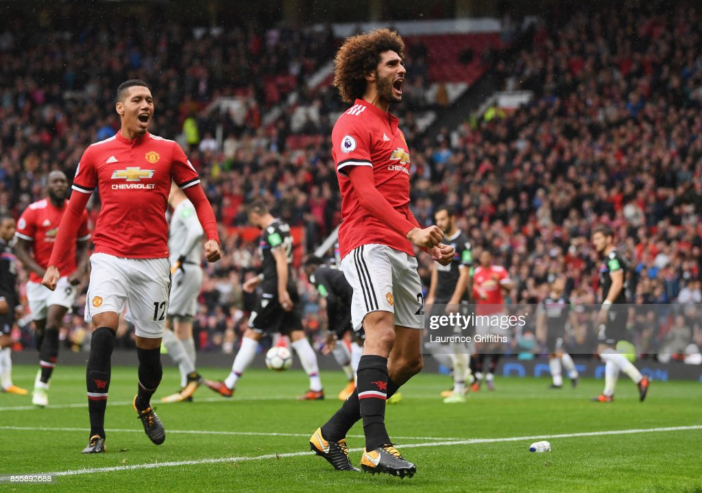 Marouane Fellaini of Manchester United celebrates scroing his side's third goal during the Premier League match between Manchester United and Crystal Palace at Old Trafford on September 30, 2017 in Manchester, England.
