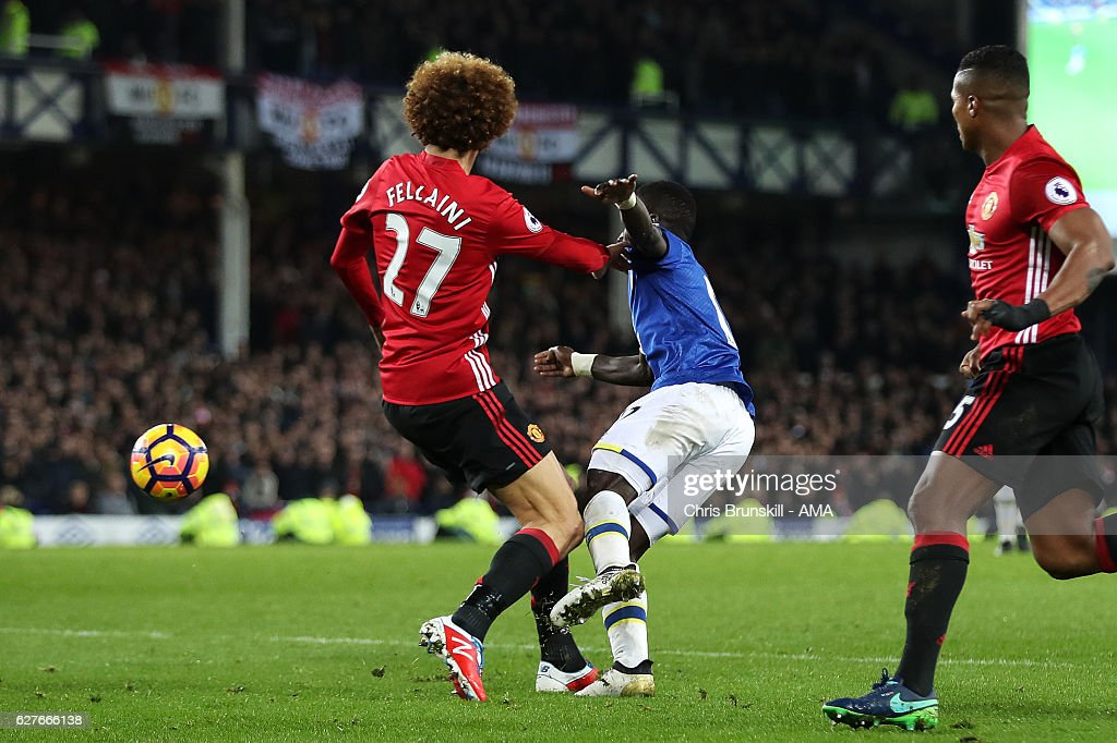 Marouane Fellaini of Manchester United fouls Idrissa Gueye of Everton in the penalty box during the Premier League match between Everton and Manchester United at Goodison Park on December 4, 2016 in Liverpool, England.