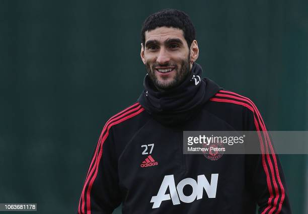 Marouane Fellaini of Manchester United in action during a first team training session at Aon Training Complex on November 20, 2018 in Manchester,...