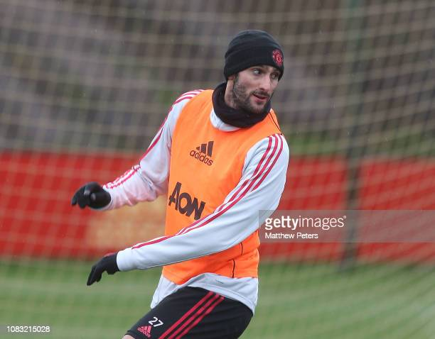 Marouane Fellaini of Manchester United in action during a first team training session at Aon Training Complex on January 16 2019 in Manchester England
