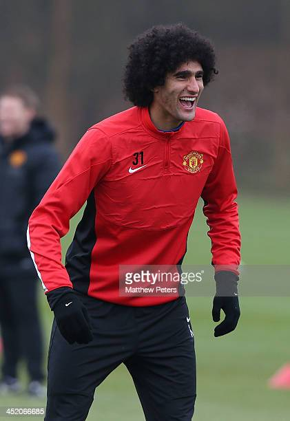 Marouane Fellaini of Manchester United in action during a first team training session ahead of their UEFA Champions League Group A match against...