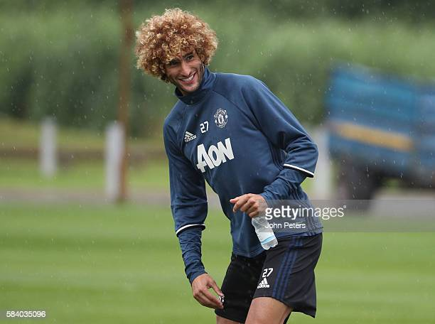 Marouane Fellaini of Manchester United in action during a first team training session at Aon Training Complex on July 28 2016 in Manchester England