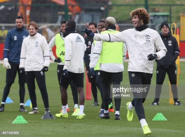 Marouane Fellaini of Manchester United in action during a first team training session at Aon Training Complex on March 3, 2017 in Manchester, England.