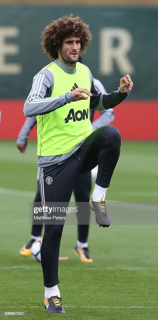 Marouane Fellaini of Manchester United in action during a first team training session at Aon Training Complex on August 22, 2017 in Manchester, England.